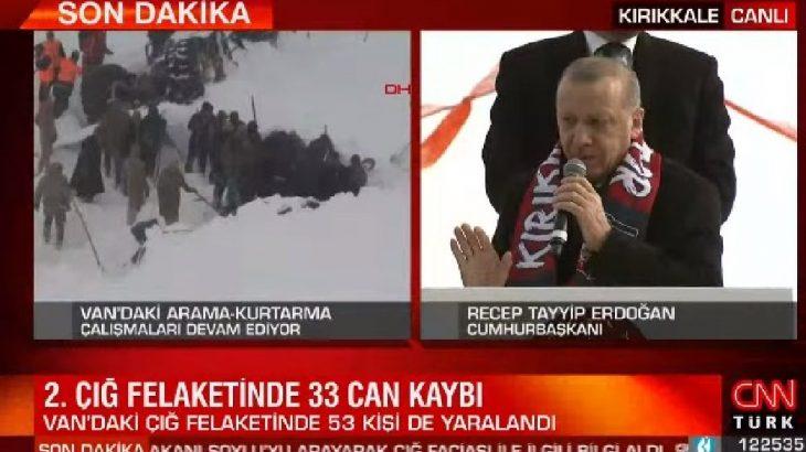 Yurttaşlar çığ altında, Erdoğan mitingde!