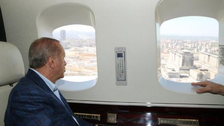 Erdoğan kurulacak hastane inşaatlarını havadan 'inceledi'
