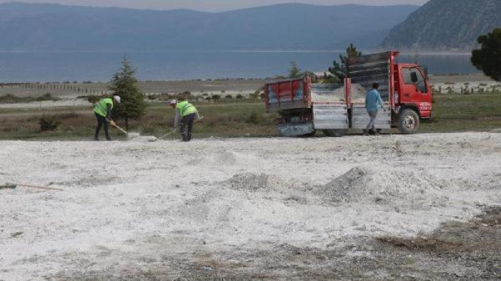 Salda Gölü'nün taşınan kumları geri getiriliyor