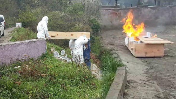 Yer Zonguldak: Cenazeden sonra tabutu yaktılar!