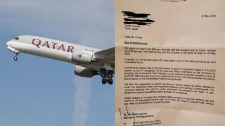 Katar Havayolları stajyer pilotu işten çıkardı: 1 milyon liralık eğitim ücretini geri istedi