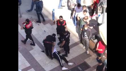 Maskesiz polislerden maske cezasına itiraz eden yurttaşa ters kelepçe