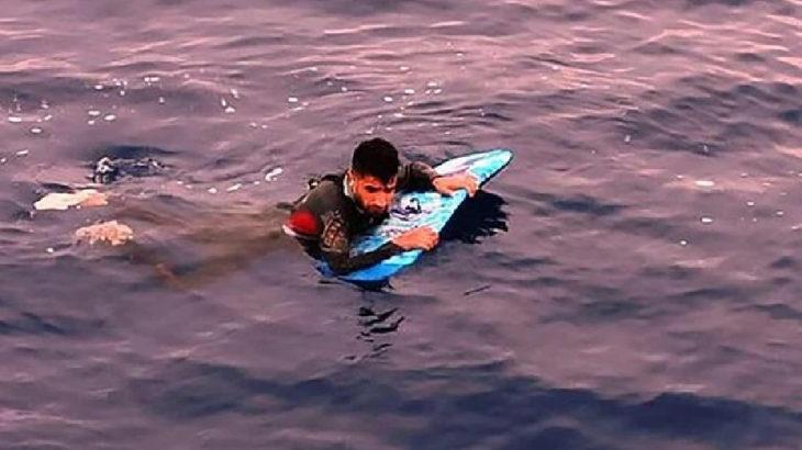 Sörf tahtasıyla Yunanistan'a geçmek istedi