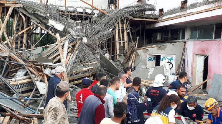 Amasya Suluova'da fabrika inşaatında göçük: 4 işçi yaralı
