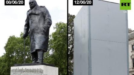 Churchill'in Londra'daki heykeli metal plakalarla 'koruma'ya alındı