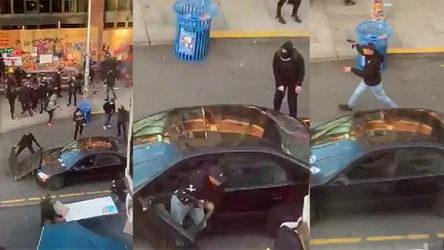 VİDEO | Floyd protestocularının arasına arabayla dalıp ateş açtı