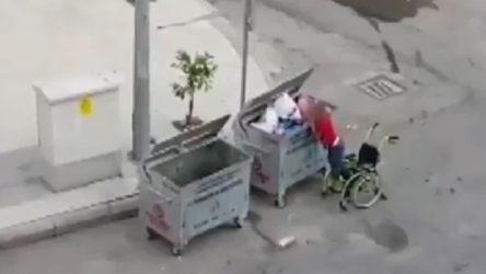 Engelli çocuk, tekerlekli sandalyesiyle çöpten atık topladı