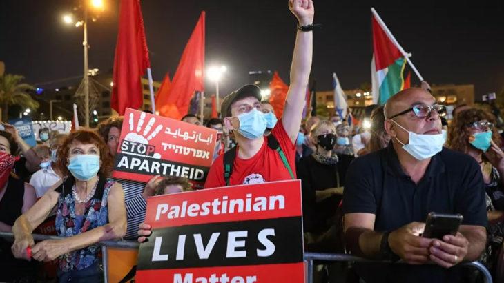 Tel Aviv'de İsrail'in 'ilhak planı' protesto edildi