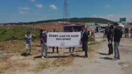 Sakarya'da aylardır ücretleri ödenmeyen inşaat işçilerinden basın açıklaması