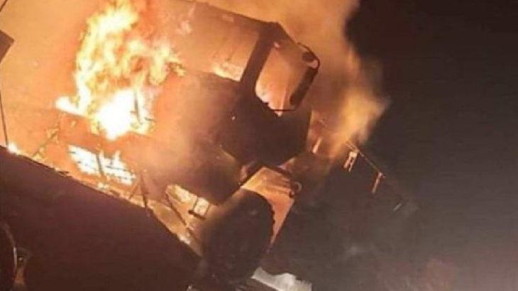 Irak'ta ABD ordusuna ait TIR'lar ateşe verildi