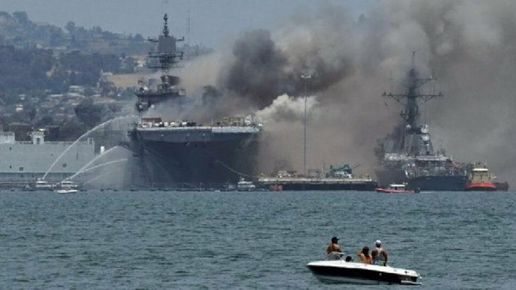 ABD savaş gemisi yandı: Yaralılar var