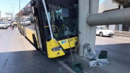 İETT otobüsü köprü ayağına çarptı: Çok sayıda yaralı