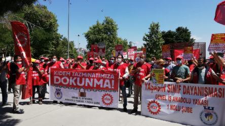 Kartal Belediyesi işçilerinden kıdem tazminatı eylemi