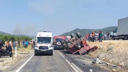 İzmir'de yangını söndürmeye giden itfaiye arazözünün devrilmesi sonucu iki er hayatını kaybetti