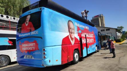 Muharrem İnce'nin otobüsü yola çıkmaya hazırlanıyor
