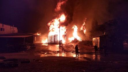 Gaziantep'te palet fabrikasında yangın!