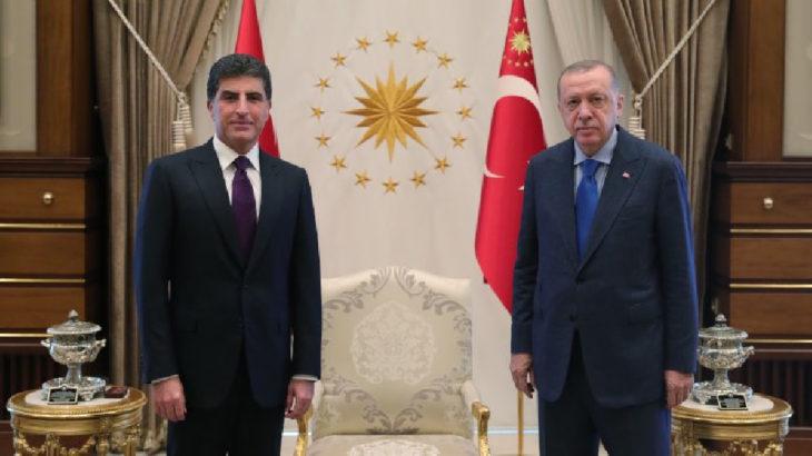 Saray'da Erdoğan-Barzani görüşmesi