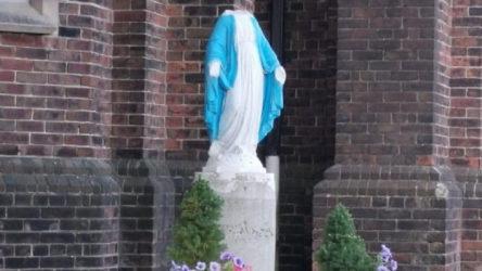 Kilise bahçesindeki Meryem Ana heykeline saldırı