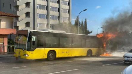 Bostancı'da İETT otobüsünde yangın!