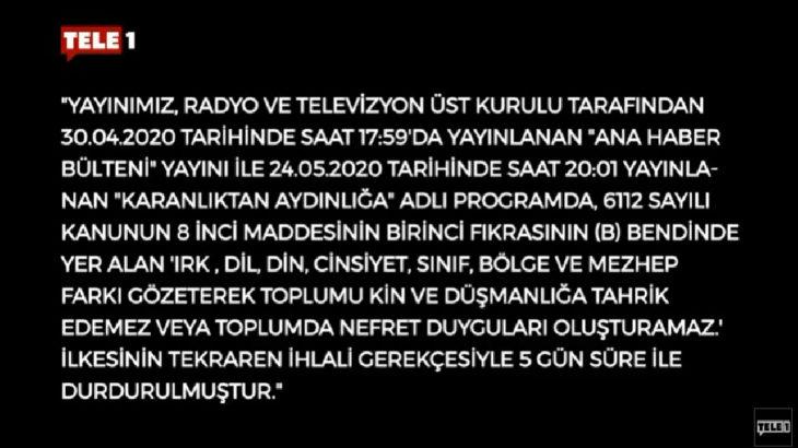Sansür devrede: TELE1 ekranları karartıldı
