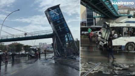 Ankara'da belediye otobüsü üst geçit asansörüne çarptı