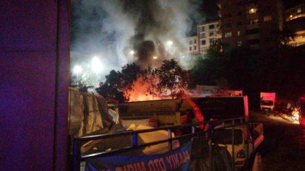 Kağıthane'de otoparkta yangın