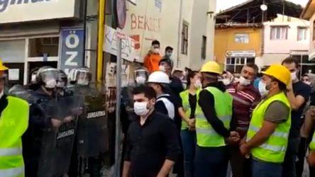 Sözler tutulmadığı için yürüyüşe devam kararı alan madencilere, jandarma engeli!