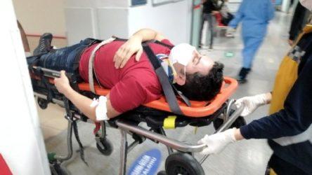 Dengesini kaybeden işçi 3 metre yükseklikten yere düştü