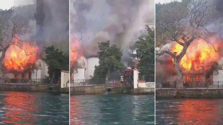 Çengelköy'de tarihi camide yangın!
