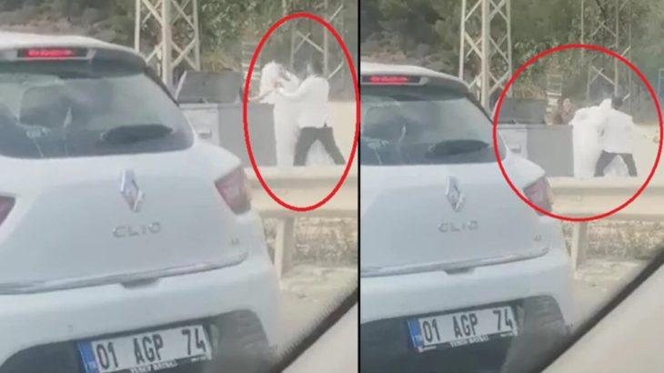 Gelini yol ortasında döven damat tutuklandı