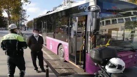 Koronavirüs testi pozitif çıkan otobüs şoförü, sefer sırasında yakalandı
