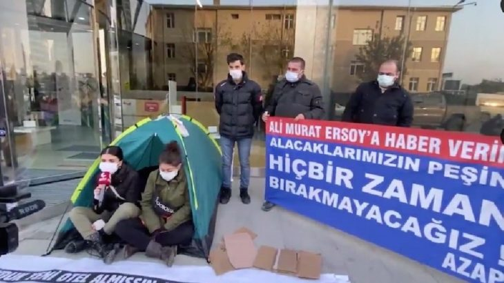 AtlasGlobal işçileri ETS Tur önünde çadır kurdu