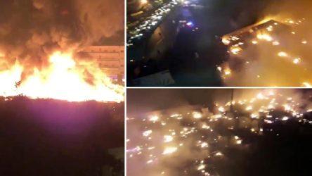 Lübnan'da Suriyeli sığınmacıların çadır kampı ateşe verildi!