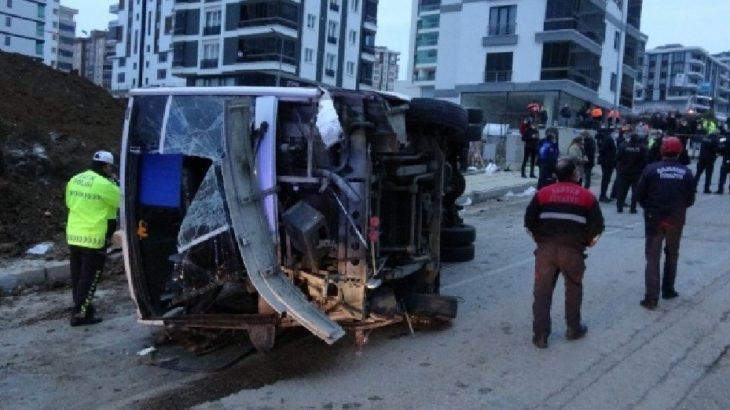 Samsun'da işçi servisi devrildi: 2 ölü, 20 yaralı