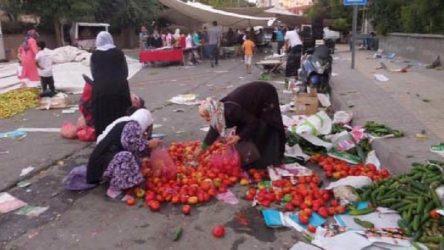 Semt pazarlarında tezgahlar kaldırılırken halk sebze ve meyve artıklarını topluyor