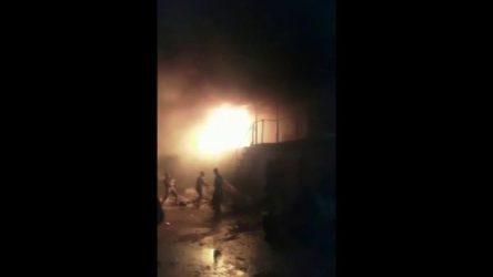 İşçilerin kaldığı konteynerda yangın çıktı