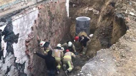 Okul inşaatında göçük: Bir işçi toprak altından kurtarıldı