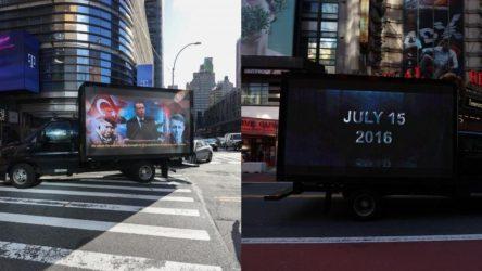 'Stop Erdoğan' ilanına karşılık New York sokaklarında '15 Temmuz kamyonet'i