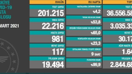Bakanlık açıklaması: 22 bin 216 yeni vaka, 117 ölüm
