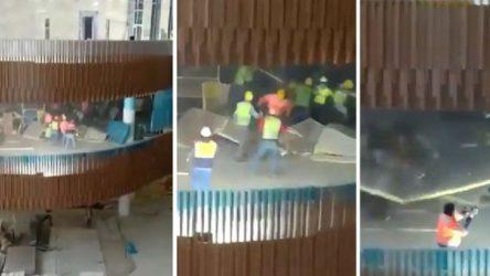 AKM inşaatında asma tavan işçilerin üzerine böyle düştü!