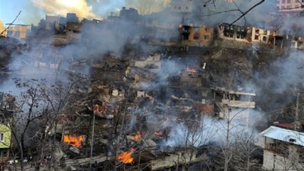 Artvin'de yangın: 35 bina, 60 ev yandı, 30'dan fazla hayvan yaşamını yitirdi