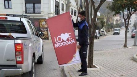 'Love Erdoğan' afişlerini kaldıran Efes Selçuk Belediyesi'ne destek yağdı