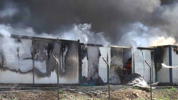 İnşaat işçilerinin kaldığı konteynerlerde yangın!