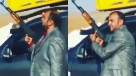 AKP'li başkanın yeğeni belediyenin zırhlı aracıyla Suriye sınırında kalaşnikof şovu yapmış