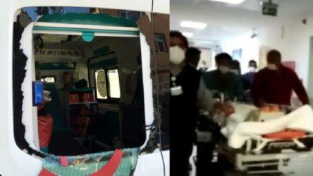 Bursa İnegöl'de yaralıya müdahale eden sağlık çalışanlarına taşlı saldırı
