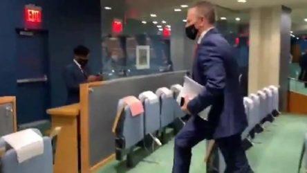 Filistin'in Büyükelçisi konuştu, İsrail Büyükelçisi salonu terk etti