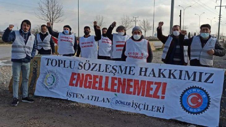 Döhler işçilerinin grevi polis tarafından engellendi