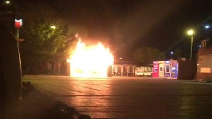 Ongun: Halk Ekmeği büfesi kimliği belirsiz kişilerce dün gece yakılmıştır
