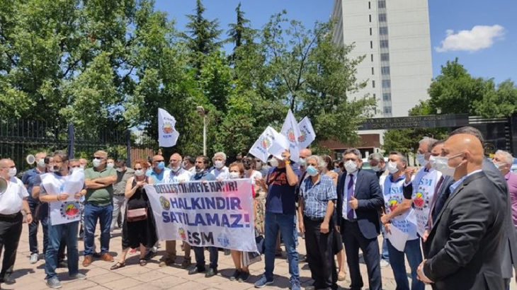 MKE önünde 'özelleştirme' protestosu: Kamunun tasfiyesine izin vermeyeceğiz