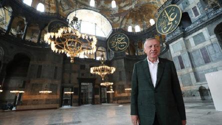 Erdoğan: Medeniyet güneşimizin yeniden yükselişinin sembolü olan Ayasofya'nın dirilişi bir kez daha hayırlı olsun
